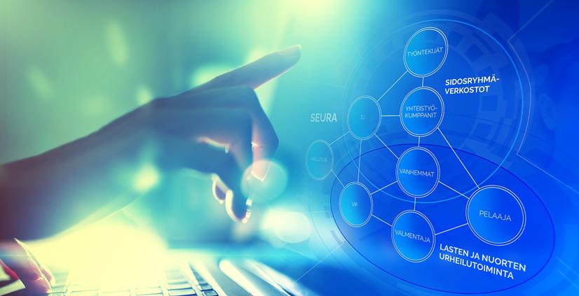 Käsi kurottaa näytölle, jossa on kuvattu kaaviona seurantoiminnan eri osa-alueiden vuorovaikutusta